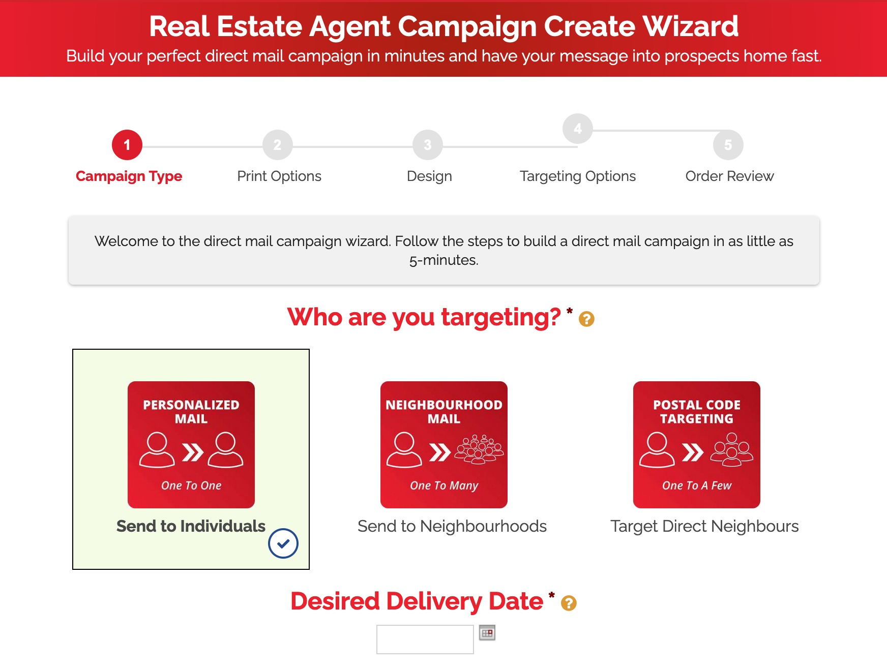 Real Estate Agent Direct Mail Campaign Wizard