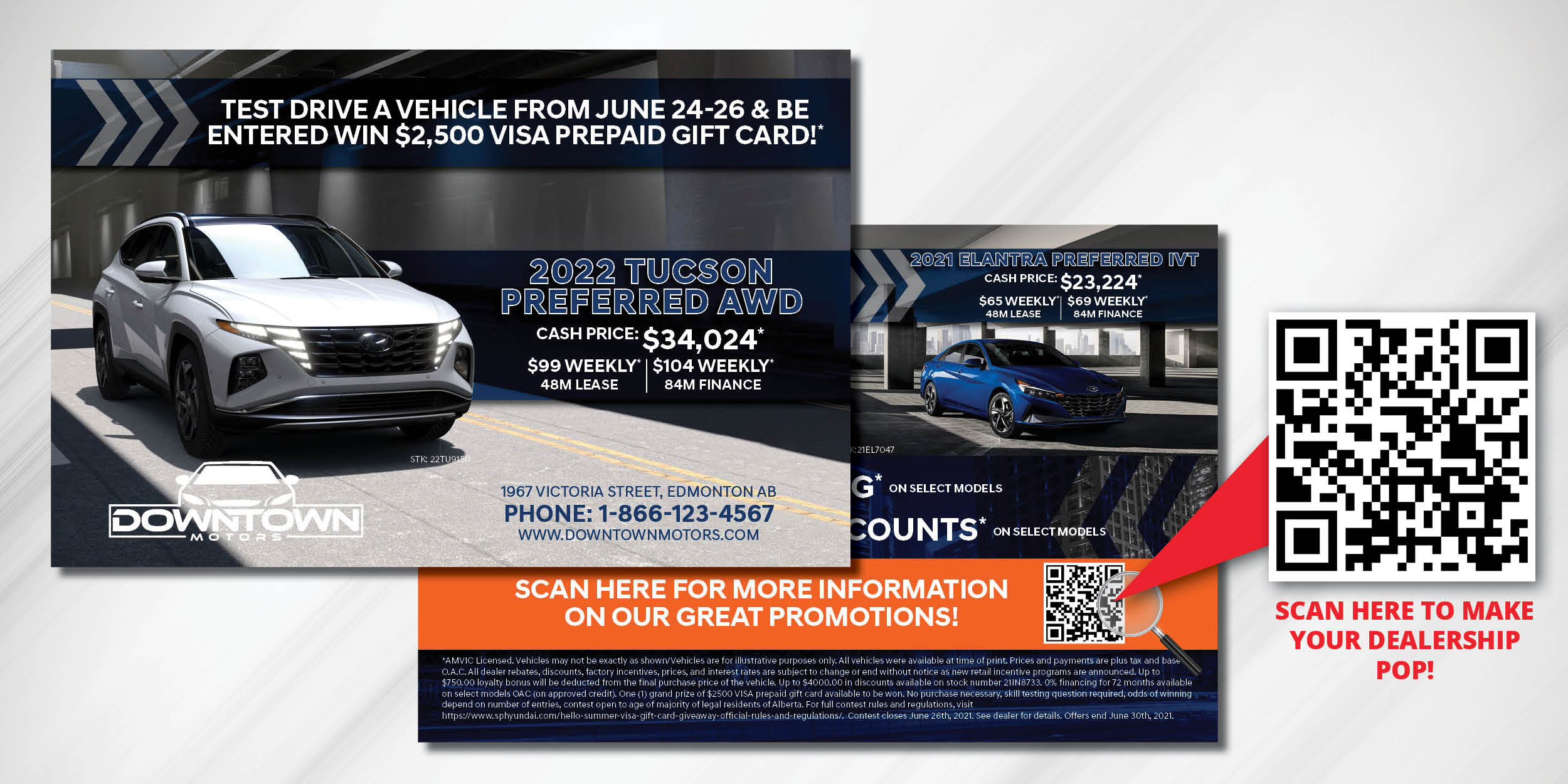 QR codes on direct mail from automotive dealership in Edmonton